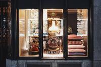 Shop window display of a luxury boutique store on Bahnhofstrasse street in Zurich, Switzerland