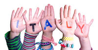 Children Hands Building Word Italy, Isolated Background
