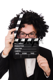 Funny movie director isolated on white