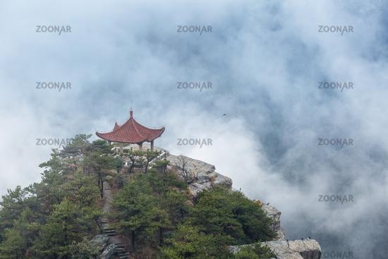 lushan mountain watching clouds pavilion closeup in cloud fog