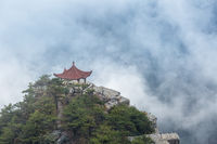 lushan mountain watching clouds pavilion closeup in cloud fog