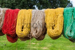 Colored carpet yarn drying at the Tapestry Museum in Genemuiden