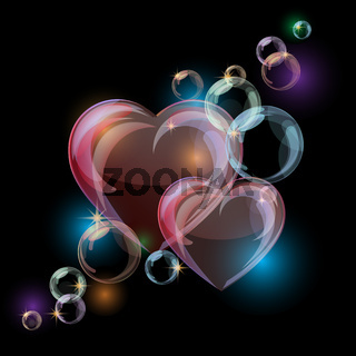 Romantic background with colorful bubble hearts shapes on black background.