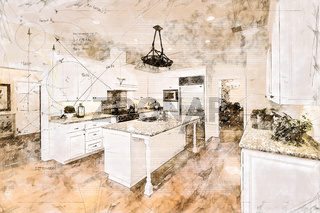 Beautiful Custom Kitchen Concept Design Drawing