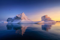 floating glaciers in the rays of the setting sun at polar night with birds
