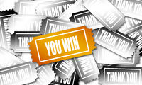 Golden winning ticket with you win word