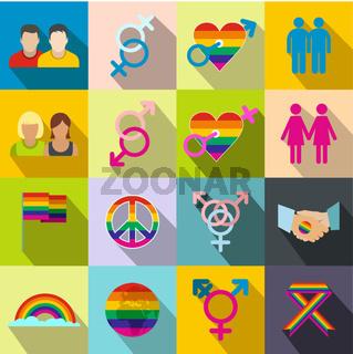 Gays flat icons set
