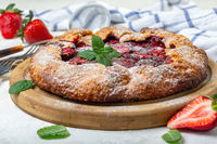 Traditional summer cake (Galeta) with strawberries.