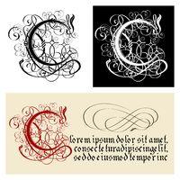 Decorative Gothic Letter C. Uncial Fraktur calligraphy.