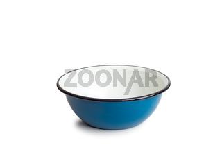 Old enamel dish on white background