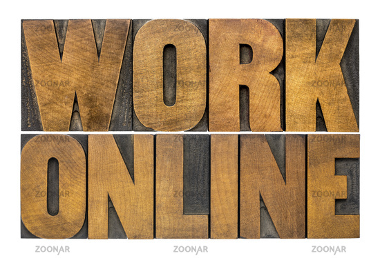 work online word abstract in wood type