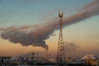 Winter industrial cityscape