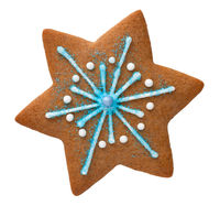 Gingerbread Star Isolated Over White Background
