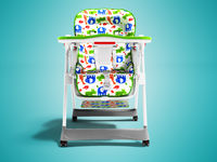 Modern baby white chair for feeding child with children's cape with African animals 3d renden on blue background with shadow