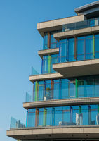 Modern futuristic building against blue sky