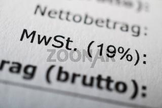 Mehrwertsteuer oder MwSt 19%