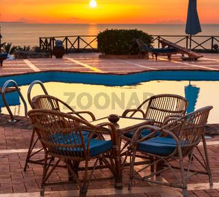 Chair near swimming pool