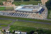 Freiburg, Baustelle des neuen SC Stadions beim Flugplatz