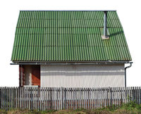 Usual no name  rural barn shed  with green roof  for storage of firewood and agricultural tools isolated