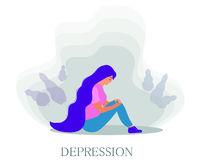 Sad unhappy girl sitting leaning crying. Depression, bad mood concept. Vector illustration