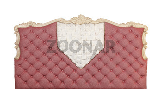 Pink capitone bed headboard isolated on white
