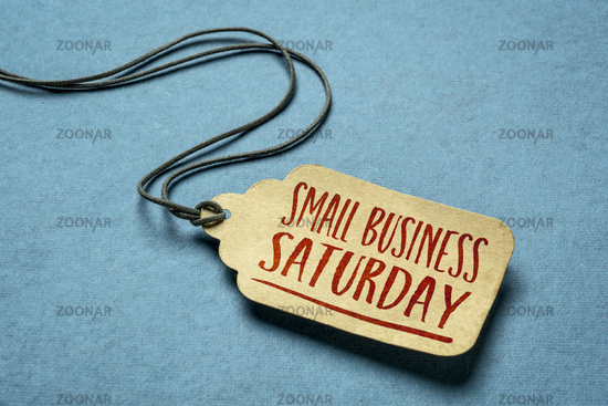 Small Business Saturday text on a price tag