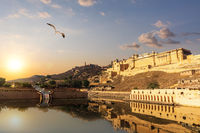 Amber Fort at sunset, beautiful view, Jaipur, India