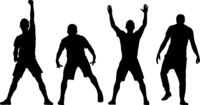 Black set silhouettes man with arm raised on a white background