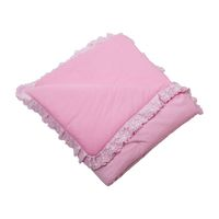 Pink baby recieving blanket. Rolled up soft pink cloth isolated on white