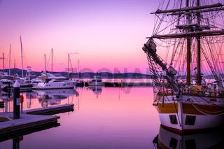 Sail boat at Victoria Dock in Hobart, Tasmania