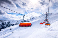 Chair ski lift in Saalbach Hinterglemm, Austria