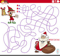 educational maze game with cartoon Christmas characters