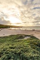 Anakena Beach on Easter Island, Rapa Nui in Chile