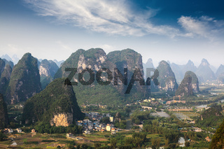 aerial view of karst mountain landscape