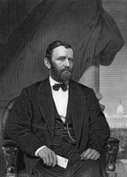 Ulysses S. Grant (1822-1885) on engraving from 1873. 18th President of the United States (1869-1877) and  military commander during the Civil War. Engraved by unknown artist and published in ''Portrait Gallery of Eminent Men and Women with Biographies''