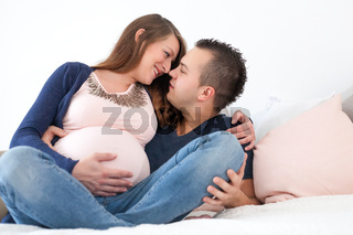 lovely young pregnant couple