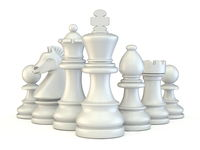 White chess pieces 3D