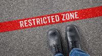 Red line on asphalt - Restricted zone
