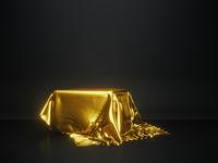 golden tablecloth presentation