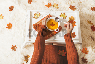 Spiced pumpkin soup in the fall