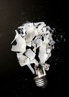 Smashed incandescent light bulb