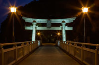 Night view on bridge from Take Island to Gamagori, Japan