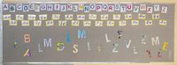 Farbige Buchstaben (Alphabet) in Druckschrift und Schreibschrift an der Wand einer Grundschule