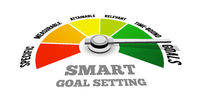 Smart goal setting. Vector illustration in the style of a speedometer.
