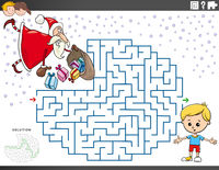 maze educational game with Santa Claus with Christmas gifts