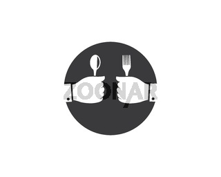 fork and spoon in hand logo vector illustration