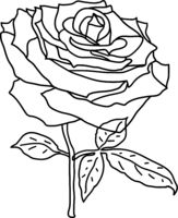 Beautiful sketch of a rose flower on a white background