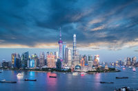 charming shanghai skyline in twilight