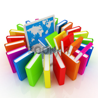 Colorful books flying and laptop