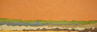 orange, green and brown  abstract landscape created with handmade Indian paper